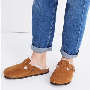Birkenstock Boston Suede Shearling Clogs Slides